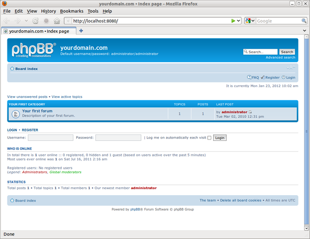 BitNami phpBB Stack for Linux full screenshot
